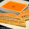 Creamy Tomato Basil Soup with Focaccia Grilled Cheese Sandwiches!
