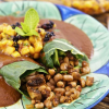 Vegan Chopped: Healthy Black-Eyed Pea Enchiladas with Mole Sauce & Mango Mint Salsa