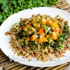 Steamed Butternut Squash over Quinoa with Southwestern Tahini Sauce