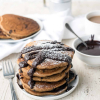 Fluffy Mocha Pancakes with Easy Chocolate Sauce