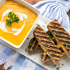 Roasted Butternut Garlic Bisque with Grilled 3-Cheese Sandwich Sticks