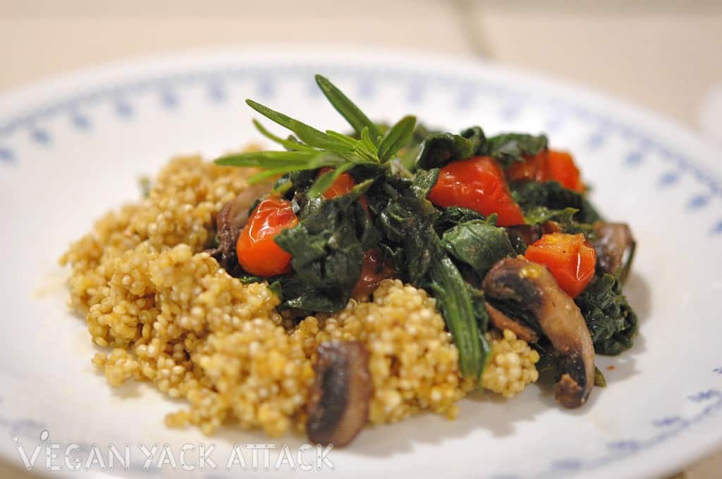 Rosemary Spinach Saute with Savory Quinoa – Vegan Yack Attack