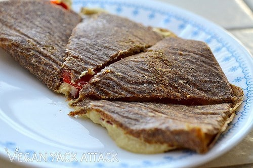 This Raw Quesadilla is made up of a Flaxseed Tortilla and delicious, rich, cashew cheese. Adding in some fresh fruits, really rounds out this recipe.