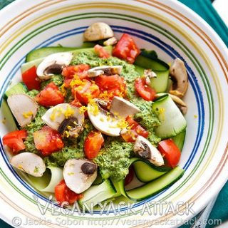 Kale Pepita Pesto over Zucchini Ribbons