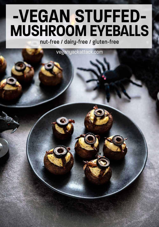"""Stuffed mushrooms on black plates with text reading """"Vegan Stuffed Mushroom Eyeballs"""""""