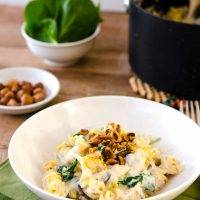 Quinoa Pasta with Creamy Garlic Sauce & Toasted Hazelnuts