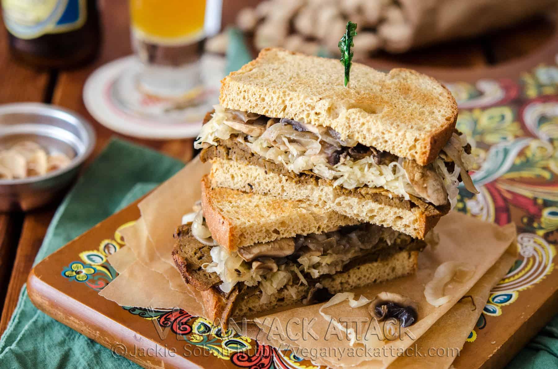 Seitan Sauerkraut Sandwich