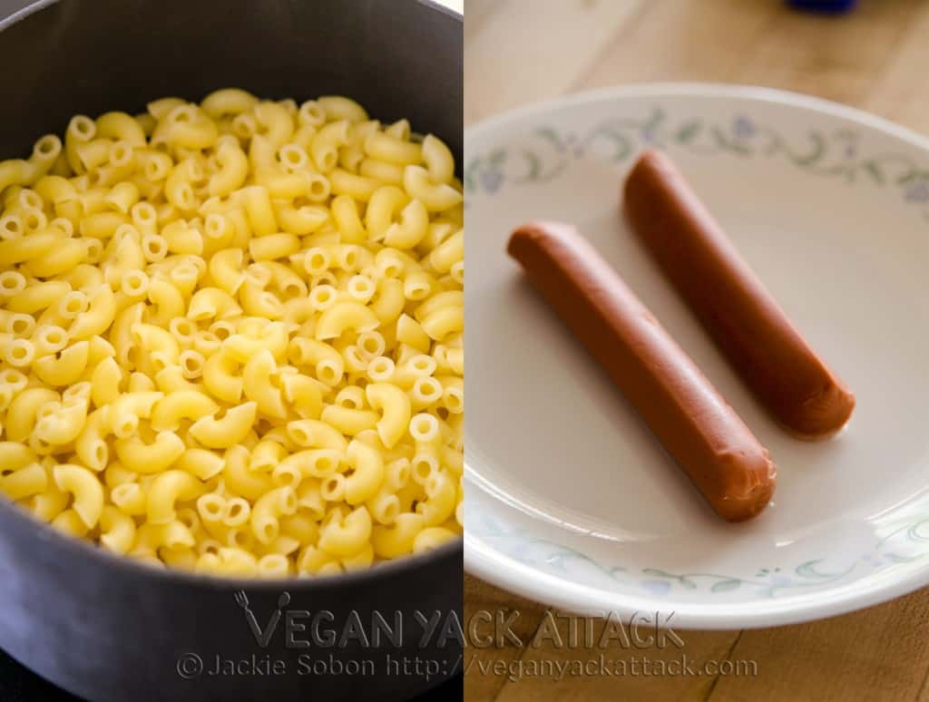 macaroni and veggie dogs