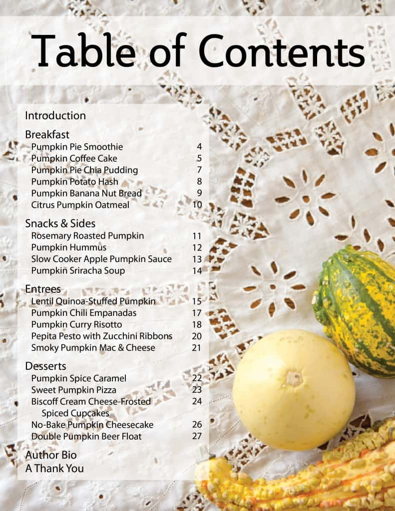 Table of contents from The Great Vegan Pumpkin eBook