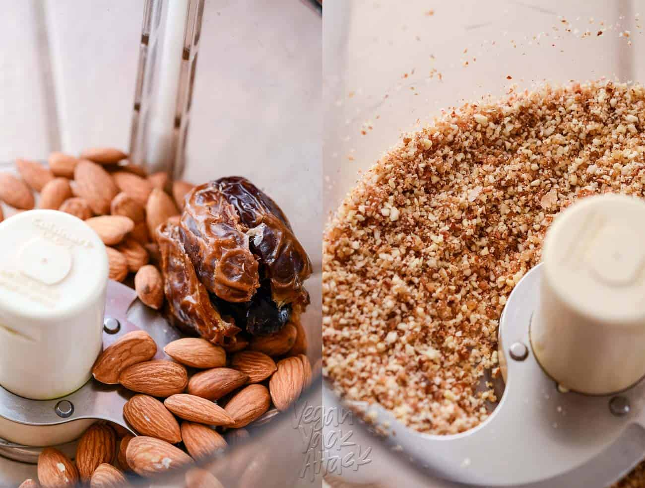 Left pic: almonds and dates in a food processor, Right pic: ingredients processed into a crust