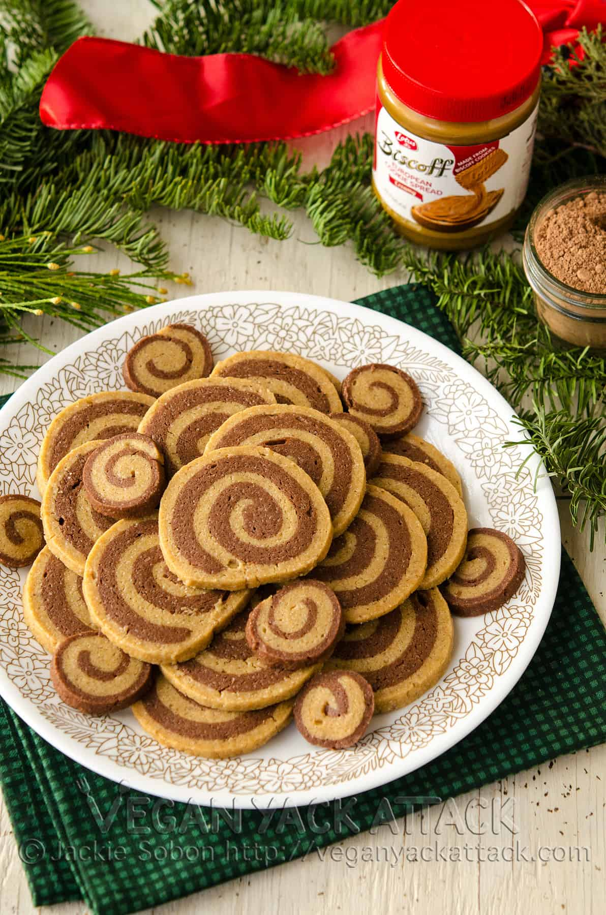 Vegan Chocolate Biscoff Pinwheel Cookies!