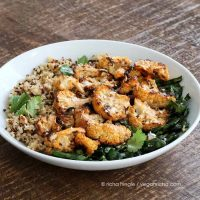 Quinoa Cauliflower Bowl with Almond Sriracha Sauce