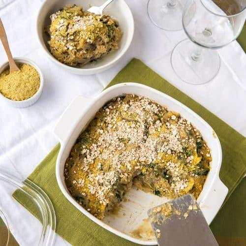 Mushroom Lentil Spaghetti Squash Casserole