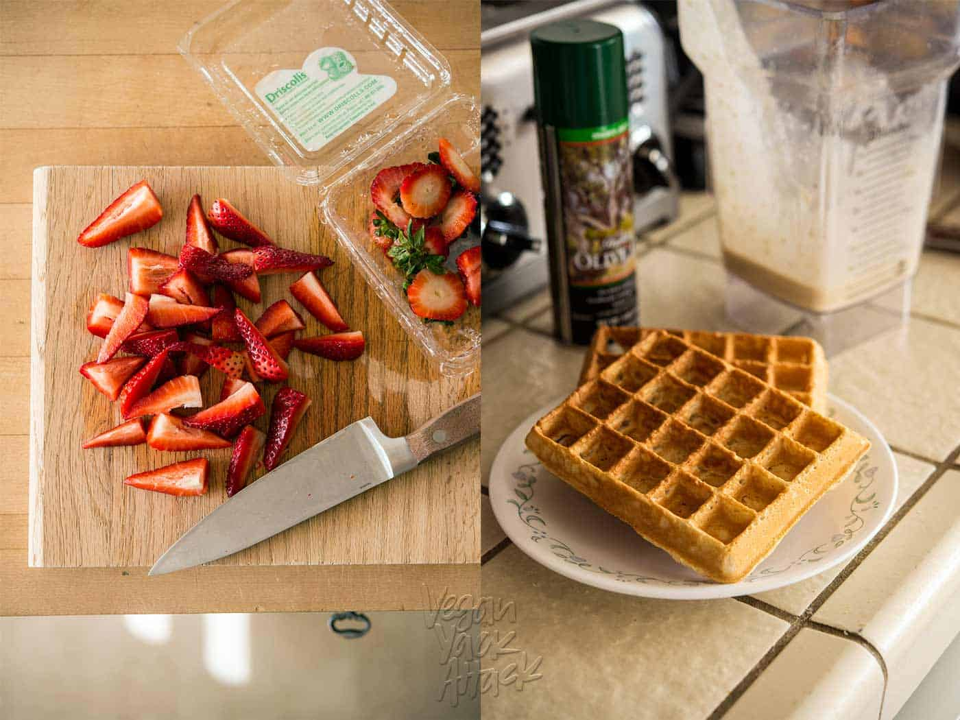 image collage of chopped strawberries and cooked waffles