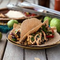 Beefy Jackfruit Tacos with Tomatillo Fajita Filling