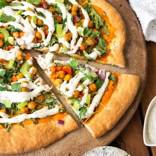 Buffalo Chickpea Ranch Pizza