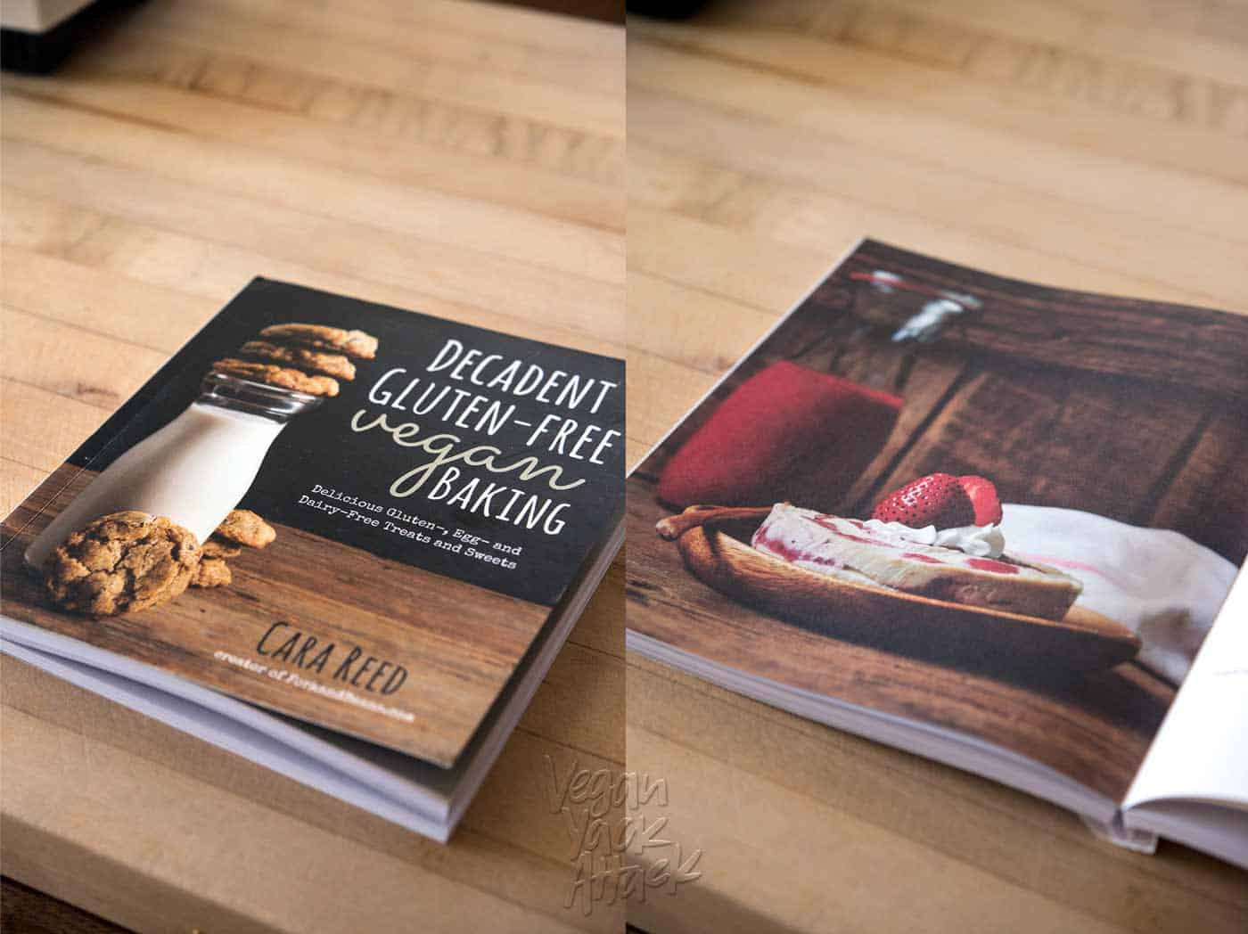 Decadent gluten-free vegan baking cookbook closed and open on counter