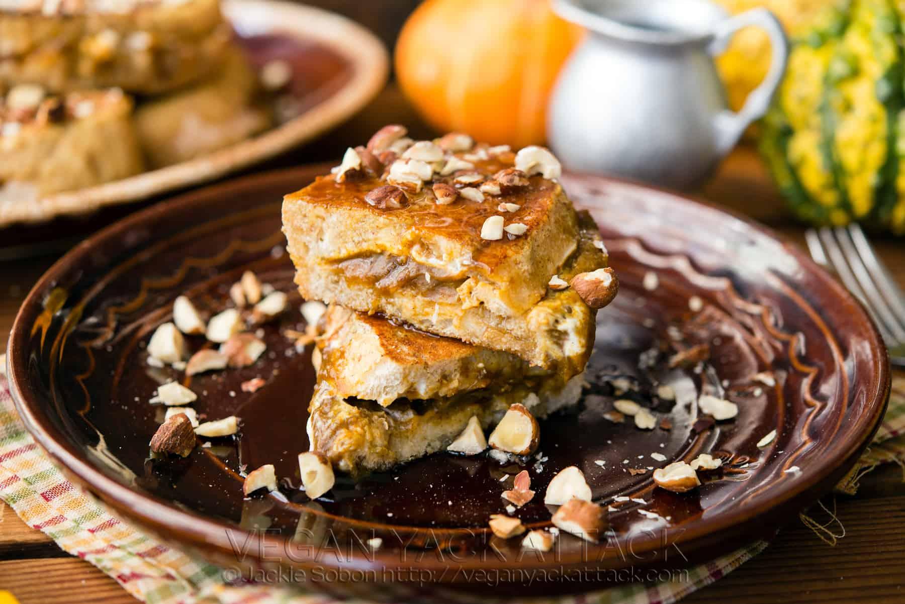 Pumpkin and Cream Cheese Stuffed French Toast