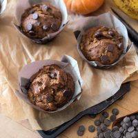 Pumpkin Banana Nut Muffins with Chocolate Chips