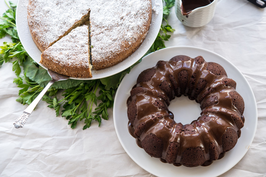 Lemon & Parsley Olive Oil Cake with Beet Chocolate Cake
