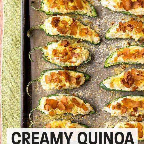 Creamy Quinoa Jalapeño Poppers with Coconut Bacon