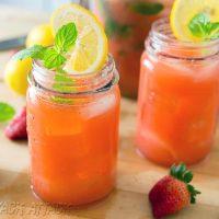 Boozy Mint Strawberry Lemonade