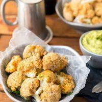 Almond-Crusted Cauliflower Bites with Avocado Ranch Dip