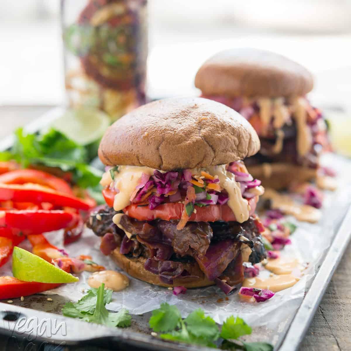 Thai BBQ Beer Cabbage Sandwiches with Daikon Slaw and Spicy Aioli. A fun twist on summer BBQ! #vegan