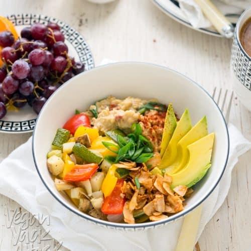 Savory Oat Breakfast Bowl - A hearty, delicious, healthy and gluten-free breakfast! #vegan