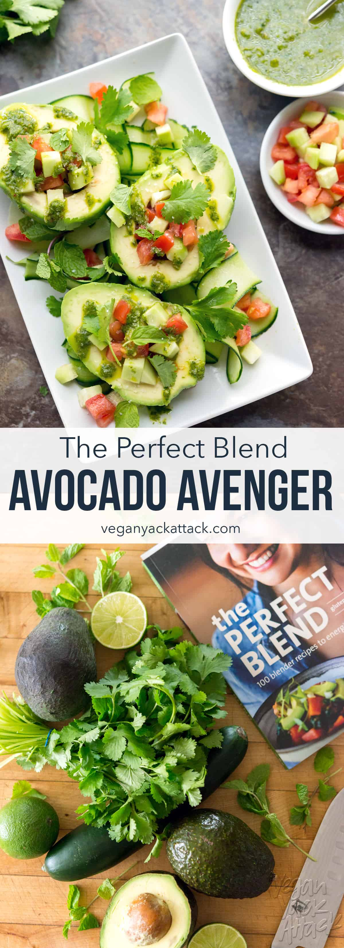 Avocado Avenger from The Perfect Blend Cookbook - An easy chimichurri sauce covering delicious, filled avocados! #ThePerfectBlend #vegan #vegetarian