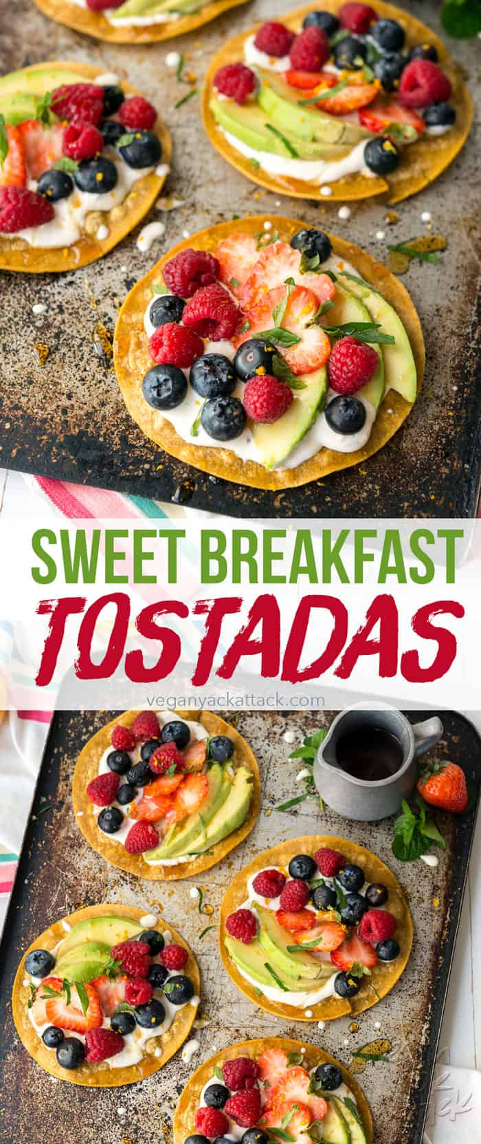 Sweet Breakfast Tostadas - A simple, delicious, breakfast snack! Vegan, Gluten-free, Soy-free - veganyackattack.com