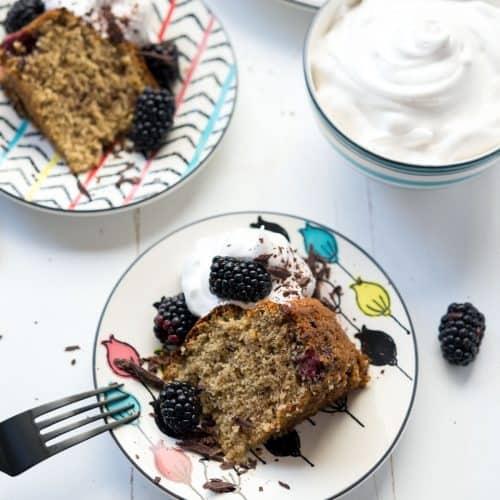 Fluffy Gluten-free Blackberry Banana Cake with Vegan Whip