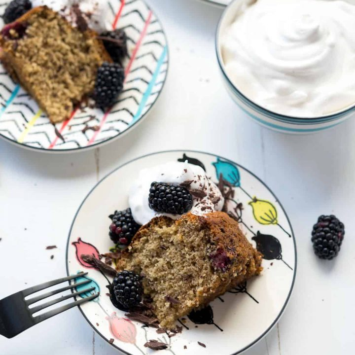 Gluten-free Blackberry Banana Cake with Vegan Whip - Delicious, light, and perfect for Spring! Especially with these cute plates from Lenox