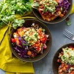 Burrito-Stuffed Sweet Potatoes - Black beans with rice, Rustic salsa and a simple guacamole stuffed inside roasted sweet potatoes! From The First Mess Cookbook #glutenfree #soyfree