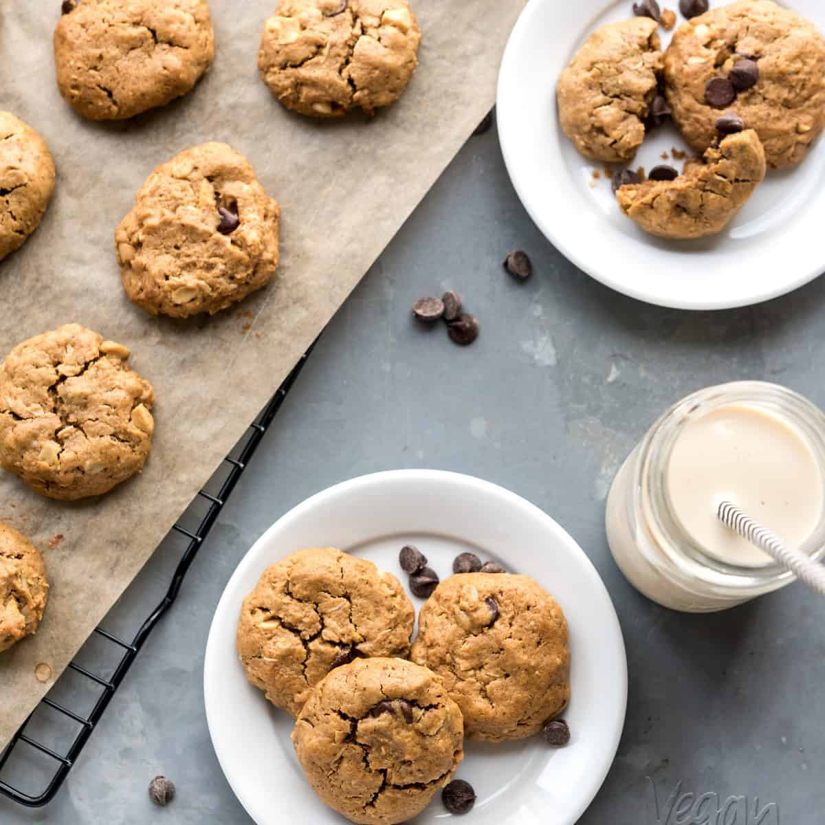 These Peanut Butter Oatmeal Cookies are easy-to-make, fun to customize, and always a crowd pleaser! From the book, But My Family Would Never Eat Vegan! #vegan #soyfree #eggfree