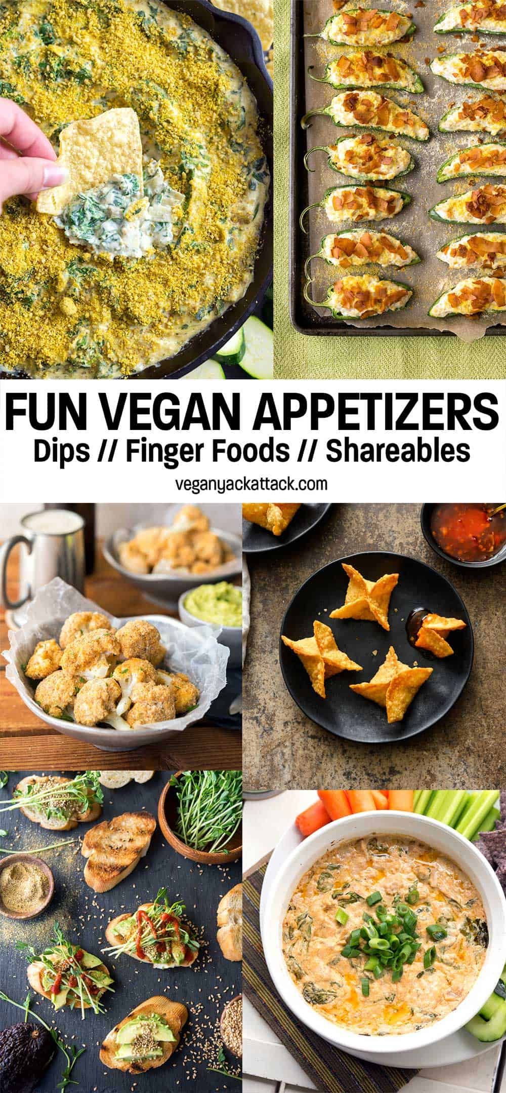 """Image collage of several different vegan appetizers with text overlay reading """"fun vegan appetizers"""""""