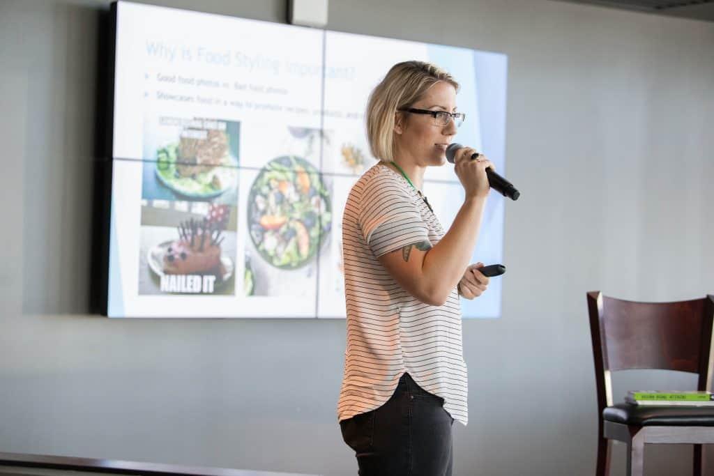 Jackie Sobon of Vegan Yack Attack, hosting a Food Styling Seminar at Seed Summit 2017 - Miami, FL.