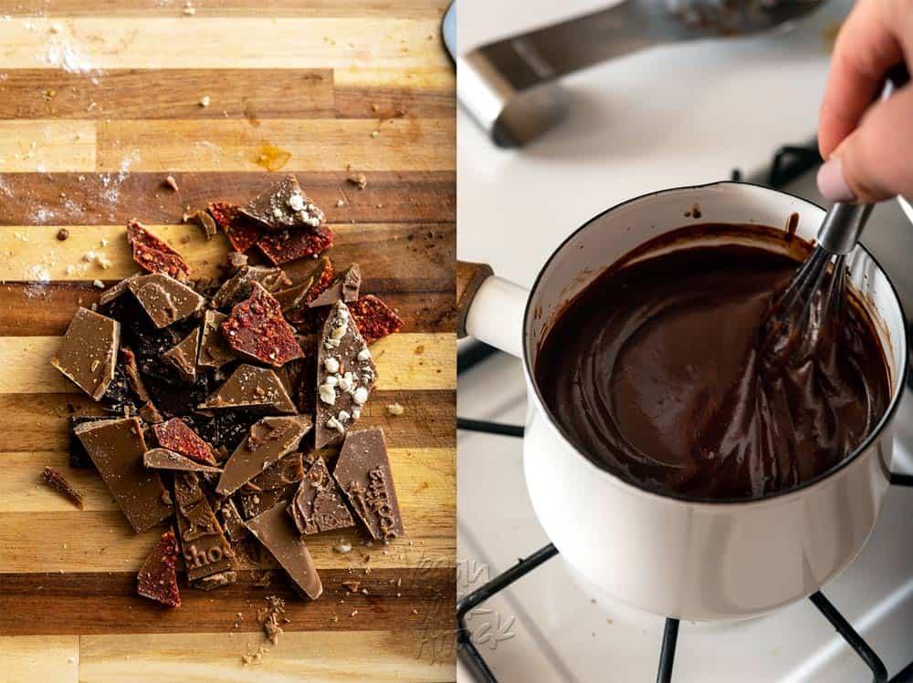 Making Vegan Chocolate Fondue with Pistachio Cheesecake Dippers