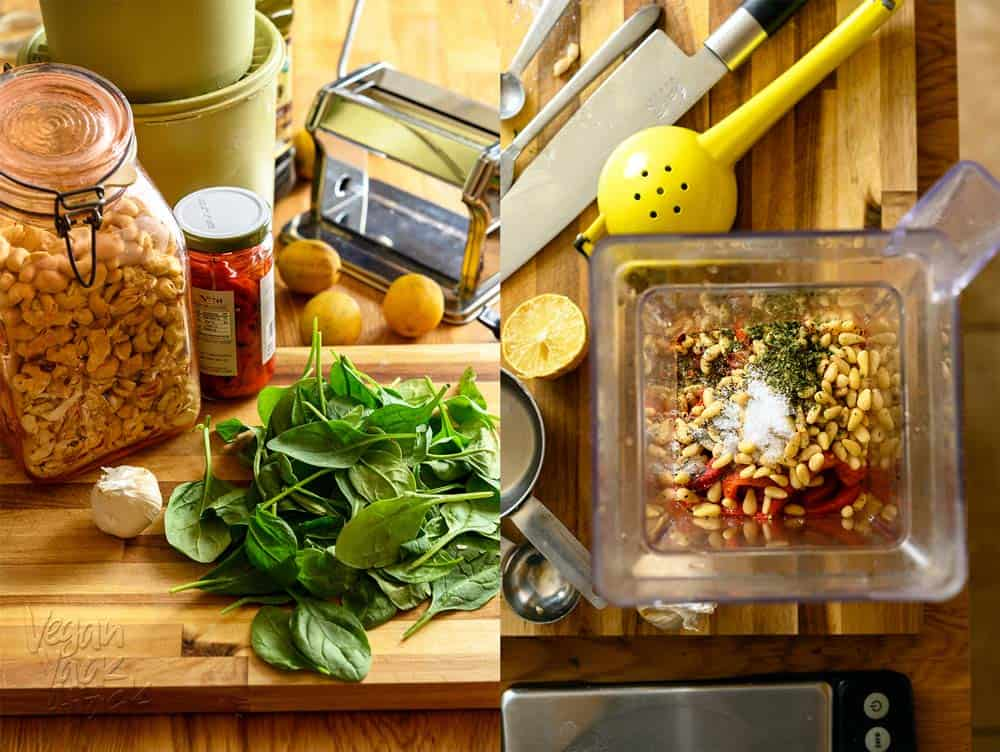 Pasta Ingredients and Red Pepper Pine Nut Sauce