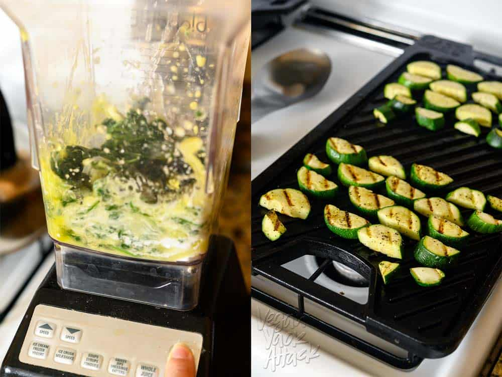 Spinach paste base and grilled zucchini