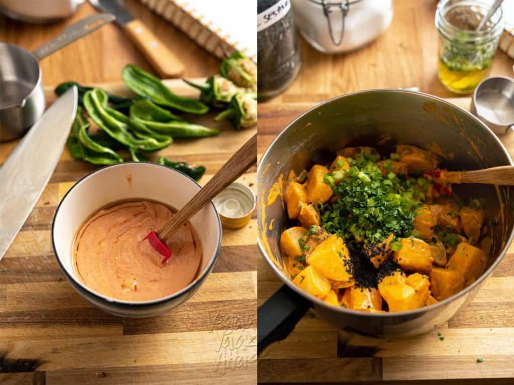 Making vegan potato salad