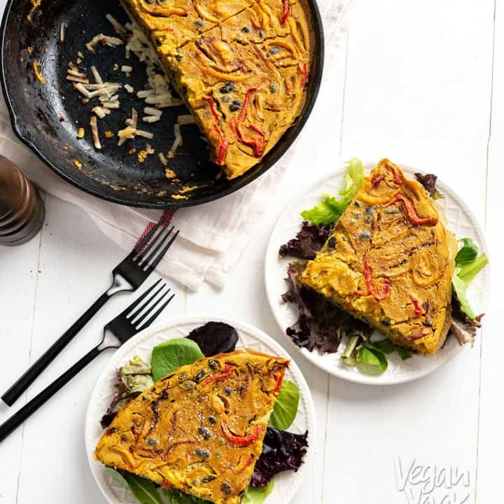 This Hash Brown-Crusted Frittata from Vegan Yack Attack's Plant-Based Meal Prep is a protein-rich breakfast that is utterly delicious! (And allergy-friendly) #vegan #plantbased #soyfree #nutfree #glutenfree