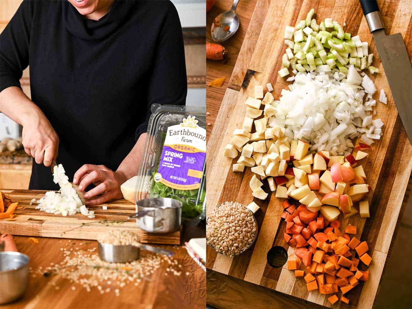 Prepping ingredients to make vegan stuffing