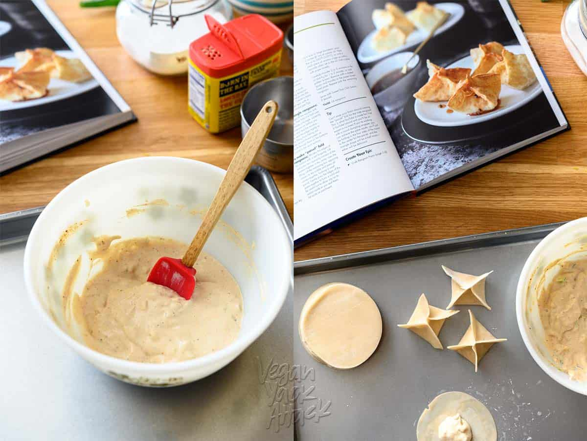 Vegan cream cheese in a bowl on the left, and assembling vegan Crab Rangoon on a baking sheet, next to an open cookbook, on the right.
