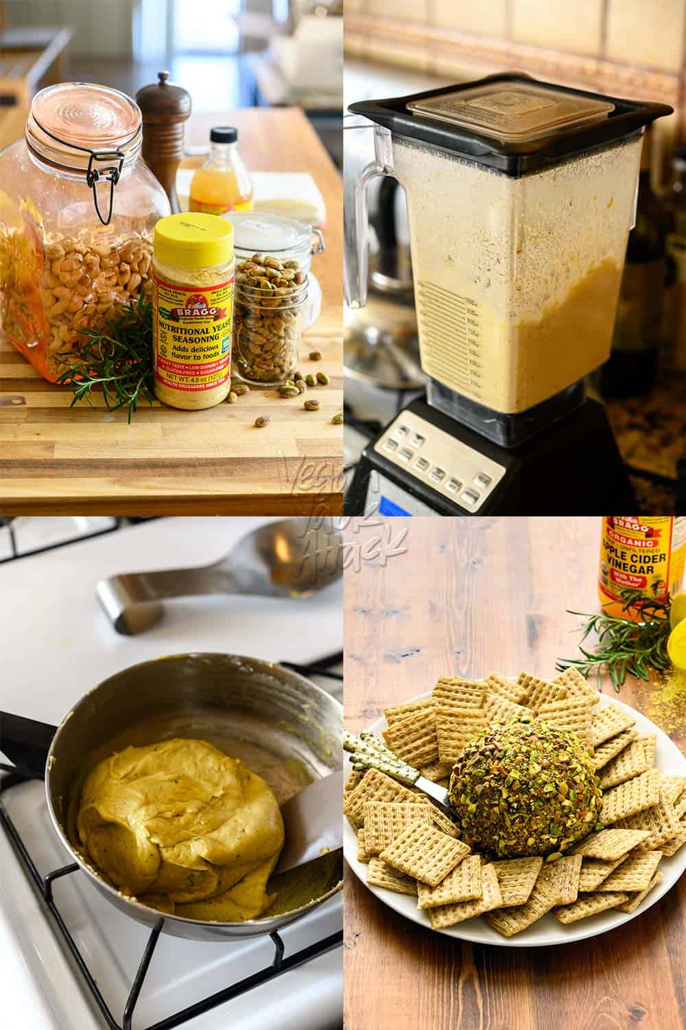 Step-by-step images of making vegan pistachio-rosemary Cheese ball. 1, ingredients, 2, blending, 3, heating in pan, 4, final dish on plate