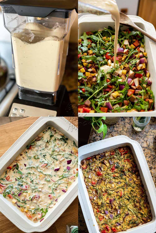 Image sequence of assembly Vegan Chorizo Breakfast Bake