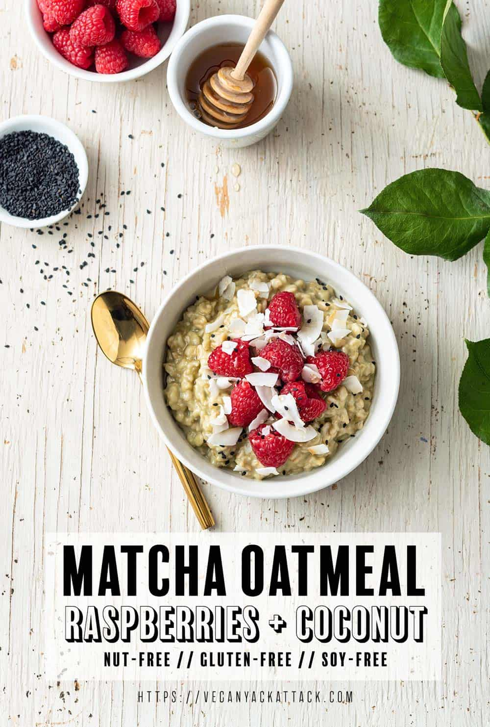 Image of white bowl with matcha oatmeal, topped with raspberries, on a white wood background, with leaves to the side
