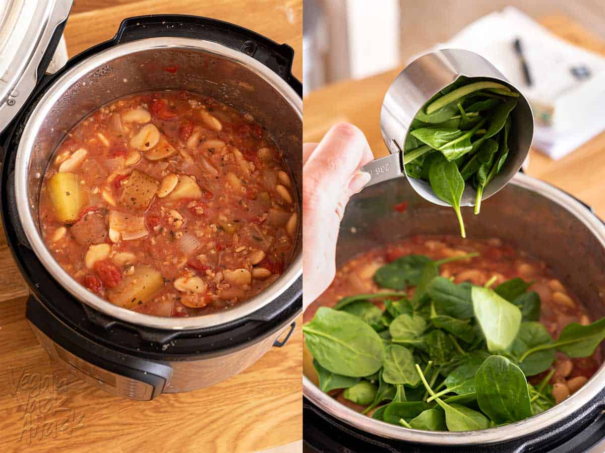 Two photos, side by side, of stew ingredients inside an Instant Pot insert