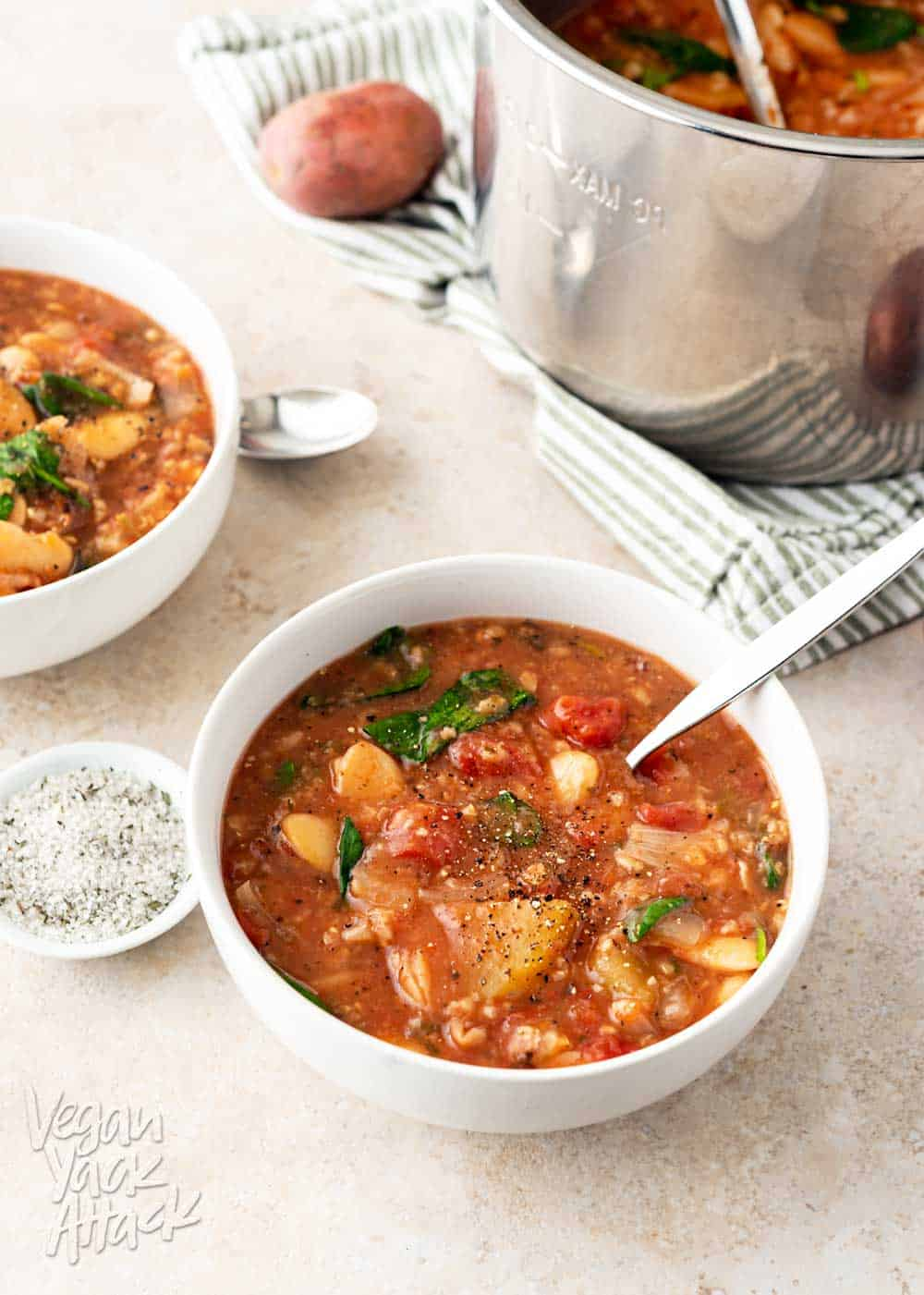 A picture of two bowls of slow cooker lima bean tomato stew, next to an Instant Pot insert, on a light table top