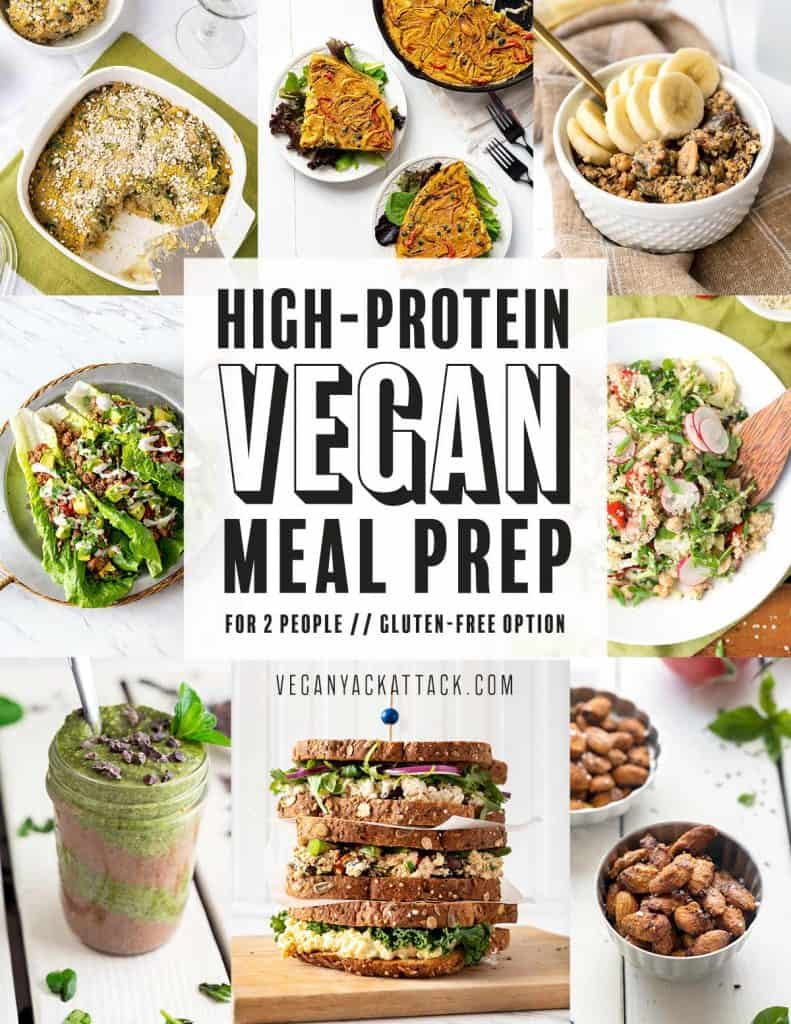 "Image collage of 8 different dishes with text overlay reading ""High-Protein Vegan Meal Prep"""